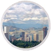 Clouds Over Skyline And Mountains Round Beach Towel