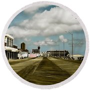 Clouds Over The Boardwalk Round Beach Towel