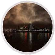 Clouds Over The River Thames Round Beach Towel by Doc Braham