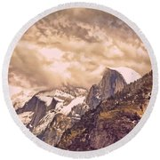 Clouds Over The Valley Round Beach Towel
