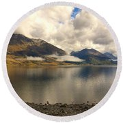 Round Beach Towel featuring the photograph Clouds Over Wakatipu #1 by Stuart Litoff