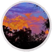Round Beach Towel featuring the photograph Clouds by Pamela Cooper