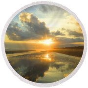 Clouds Reflection By Jan Marvin Round Beach Towel