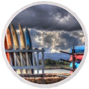 Cloudy Day Round Beach Towel