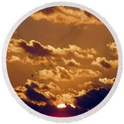 Key West Cloudy Sunset Round Beach Towel