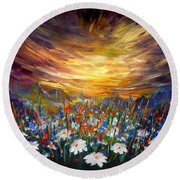 Round Beach Towel featuring the painting Cloudy Sunset In Valley by Lilia D