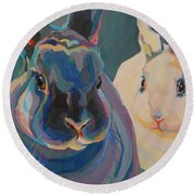 Clover And Lily Round Beach Towel