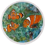 Clown Fish Art Original Tropical Painting Round Beach Towel