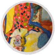Clown Girl Round Beach Towel