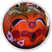 Clown Pumpkin Round Beach Towel by Denyse Duhaime