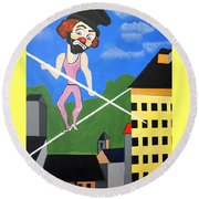 Round Beach Towel featuring the painting Clown Tight Roping by Nora Shepley