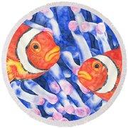 Clownfish Couple Round Beach Towel
