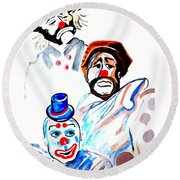 Round Beach Towel featuring the painting Clowns In Heaven by Nora Shepley