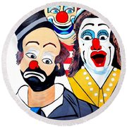 Round Beach Towel featuring the painting Clowns In Shock by Nora Shepley