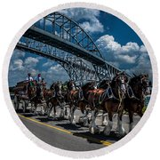 Clydesdales And Blue Water Bridges Round Beach Towel