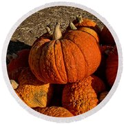 Round Beach Towel featuring the photograph Knarly Pumpkin by Michael Gordon
