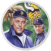 Coach Bud Grant Round Beach Towel