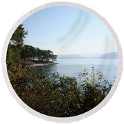 Round Beach Towel featuring the photograph Coast by Tracey Harrington-Simpson