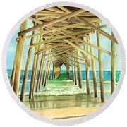 Coastal Cathedral  Round Beach Towel
