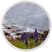 Coastal Cliff Flowers Round Beach Towel by Melinda Ledsome