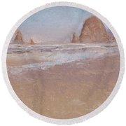 Coastal Escape  Cannon Beach Oregon And Haystack Rock  Round Beach Towel
