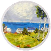 Round Beach Towel featuring the painting Coastal Fishing Village by Pamela  Meredith