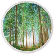 Coastal Redwoods Round Beach Towel