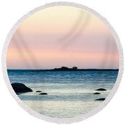 Coastal Twilight View Round Beach Towel