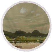 Coastal View With Mountains South America Round Beach Towel