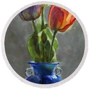 Cobalt And Tulips Still Life Painting Round Beach Towel