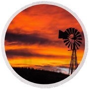 Cobblestone Windmill At Sunset Round Beach Towel