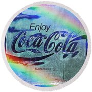 Coca Cola Rainbow Round Beach Towel
