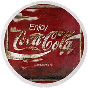 Coca Cola Red Grunge Sign Round Beach Towel
