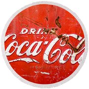 Coca-cola Sign Round Beach Towel