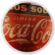 Round Beach Towel featuring the photograph Coca Cola Sign by Rodney Lee Williams