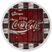 Coca Cola Sign With Little Cokes Border Round Beach Towel