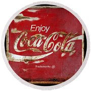 Coca Cola Vintage Rusty Sign Round Beach Towel
