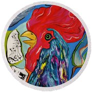 Round Beach Towel featuring the mixed media Cock-a-doodle-do by Janice Rae Pariza