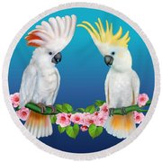 Cockatoo Courtship Round Beach Towel by Glenn Holbrook