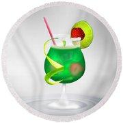 Cocktail Green Strawberry Round Beach Towel