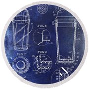 Cocktail Shaker Patent Drawing Blue Round Beach Towel