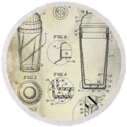 Cocktail Shaker Patent Drawing Round Beach Towel