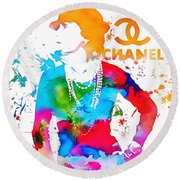 Coco Chanel Paint Splatter Round Beach Towel