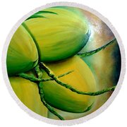 Coconut In Bloom Round Beach Towel
