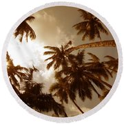 Coconut Palms Round Beach Towel