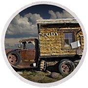 Cody Wyoming Truck Signpost Round Beach Towel