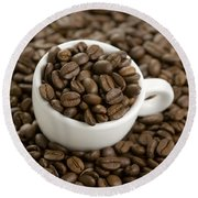 Round Beach Towel featuring the photograph Coffe Beans And Coffee Cup by Lee Avison