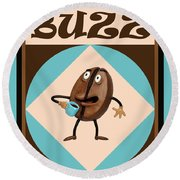 Coffee Buzz Round Beach Towel