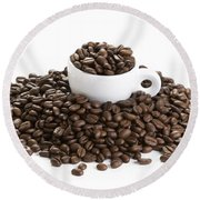 Round Beach Towel featuring the photograph Coffee Beans And Coffee Cup Isolated On White by Lee Avison