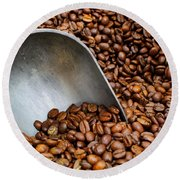 Coffee Beans With Scoop Round Beach Towel by Jason Politte